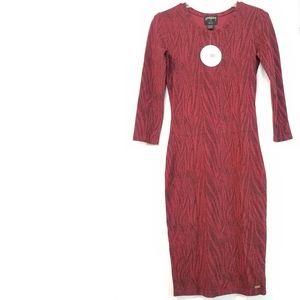 Stussy Animal Velour Dress Red Bodycon Dress NWT